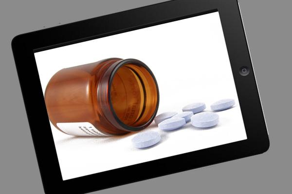 Pill bottled tilted ipad